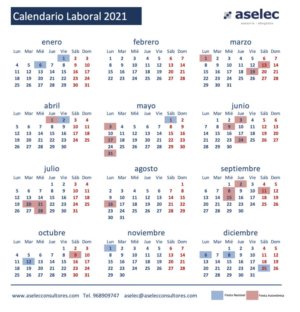 calendario laboral aselec 2021