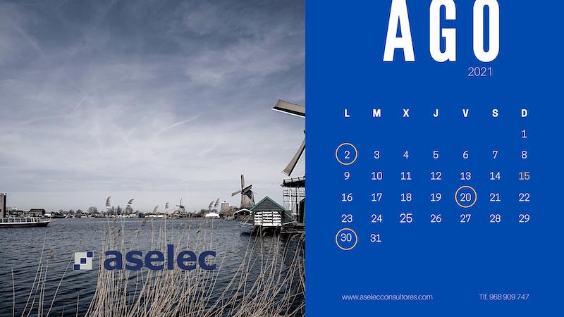 calendario fiscal agosto 2021 aselec